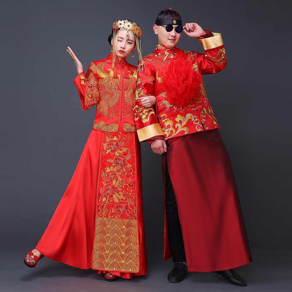 Chinesische Hochzeitskleid robe Elegante Chinesische Frauen Kleid QiPao  Cheongsam Lange Hochzeitskleid Abendkleid Rot la robe de mariage