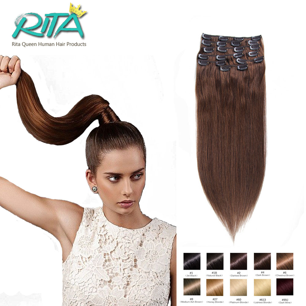 DHL Free 7A Brazilian Virgin Clip In Hair Extensions 7 10 pcs set Full Head Dark
