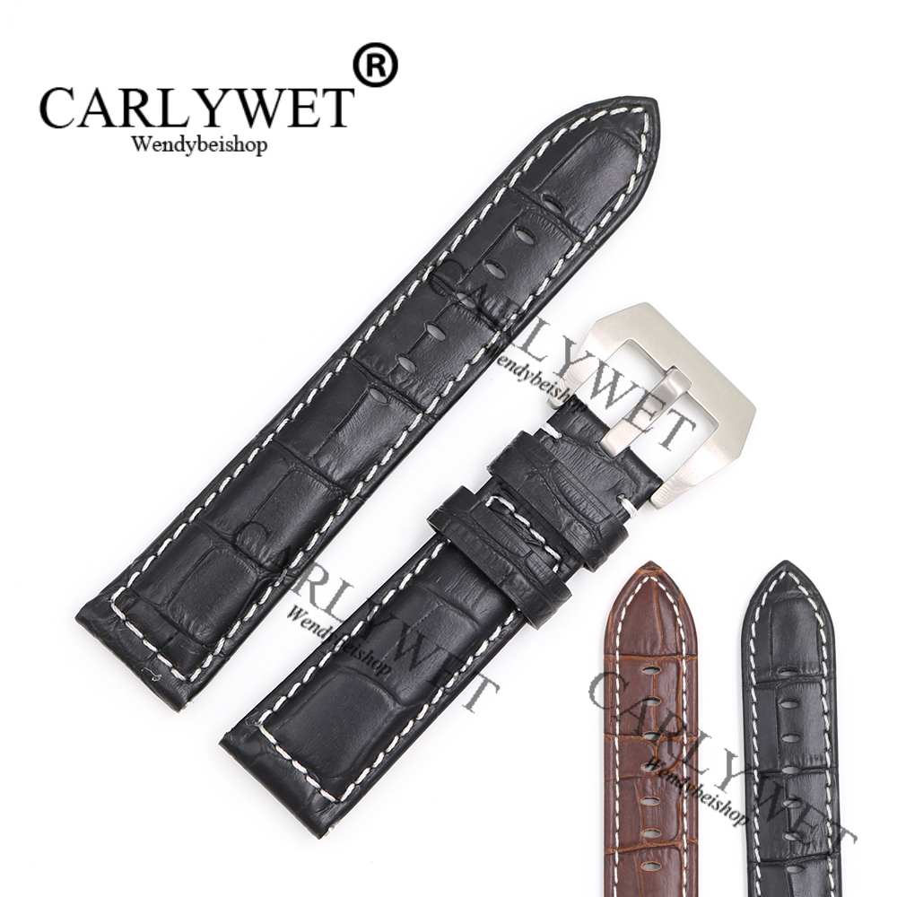 CARLYWET 22mm Wholesale New Genuine Leather Black Brown Crocodile Grain Strap Wrist Watch Band Belt Pin Buckle free shipping free shipping wholesale black brown perlon strap braided watch strap 20mm watchband with buckle