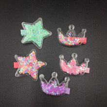 Transparent five-pointed star inside small hairpin child crown tiara issuing card