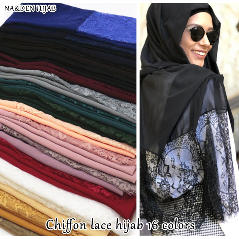 New bubble chiffon two side lace hijab scarf plain maxi scarves and shawls luxury women muslim