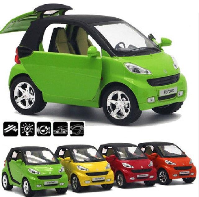 1:32 escala inteligente bonito diecast modelo de carro brinquedo com puxar para trás função música luz opable portas para crianças como presente frete grátis