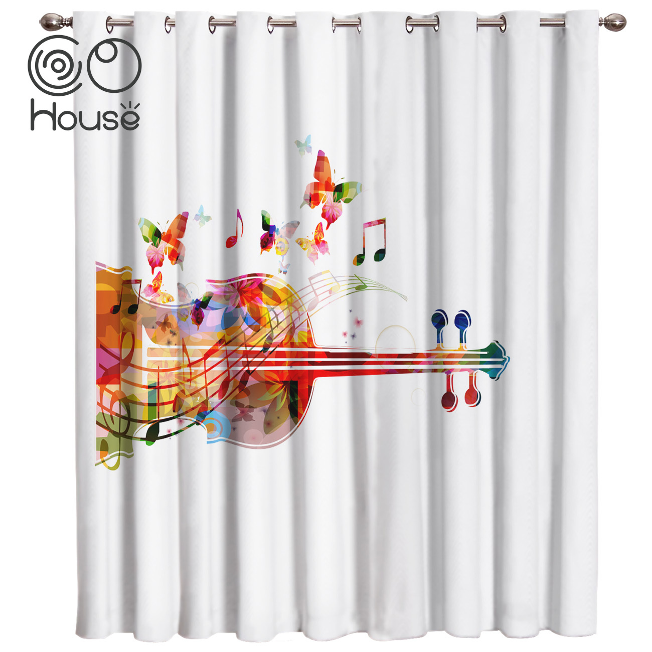 COCOHouse Colorful Cello Butterfly Music Guitar White Room Curtains Large Window Curtain Rod Bathroom Kitchen Indoor Fabric