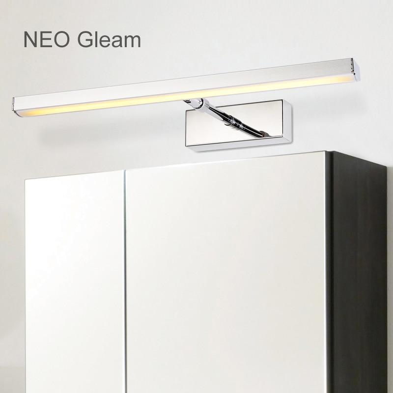 ФОТО NEO Gleam 39-59cm 7W-14W Modern Led wall lights Rotating makeup dressing room bathroom Stainless Steel led mirror lamp fixtures