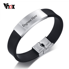 Free Engraving 16mm Identification ID Bracelet for Men Bangle Personalized Name Info Stainless Steel Silicone Band Jewelry