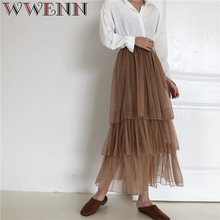 Quality 3 Layers 85cm Maxi Long Tulle Skirt Elegant Pleated Tutu Skirts Womens Vintage Lolita Petticoat faldas mujer Saias Jupe недорого