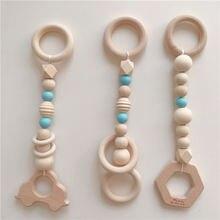 Детские игрушки Деревянный прорезыватель Кольцо из бука Сенсорная