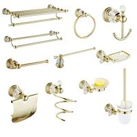 Wall Mounted Towel Rack Solid Brass Bathroom Hardware Sets Gold Polished Paper Holder Crystal Bathroom Products accessori bagno