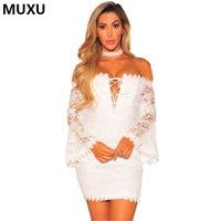 MUXU Sexy Summer Women White Flower Lace Dress Crochet Lace Short Summer Womens Clothing Short Elbise