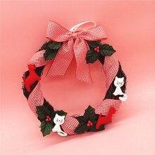 Wreath Cloth Christmas Decorations For Trees Christmas Tree Ornament Christmas Door Hanging Holiday Knocker Santa Claus