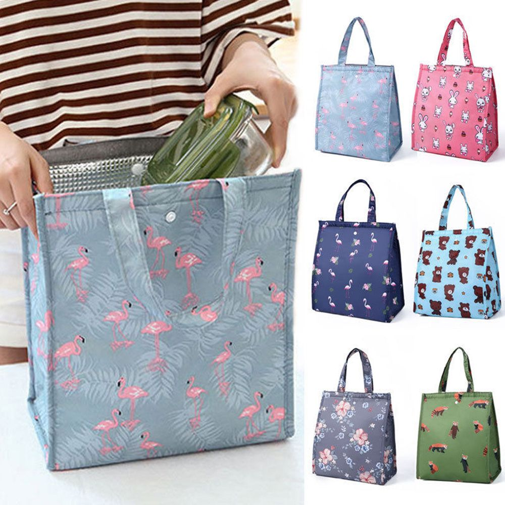 Animal Flamingo Lunch Bags Women Portable Functional Canvas Stripe Insulated Thermal Food Picnic Kids Cooler Lunch Box Bag Tote
