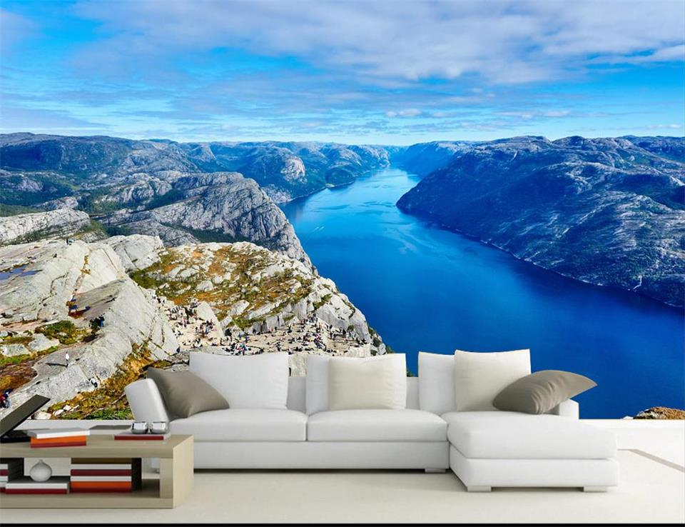 Custom 3d Mural Wallpapers Hd Landscape Mountains Lake: Custom 3D Photo Wallpaper Room HD Mural Norway Fjord