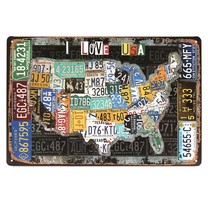 Route plate number personality metal sign vintage american for Plaque metal deco pour mur