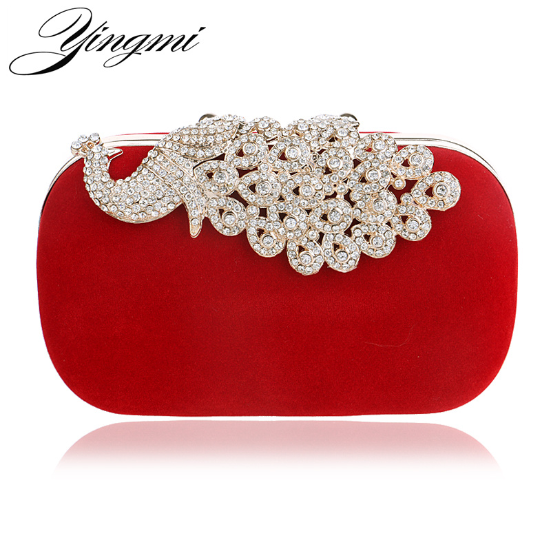 Luxury diamonds peacock women clutch bags velvet rhinestones evening bags for wedding bridal party wallet with