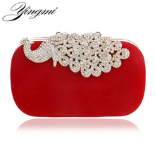 Luxury diamonds peacock women clutch bags velvet rhinestones evening bags for wedding bridal party handbags with chains  все цены