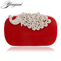 Luxury Diamonds Peacock Women Clutch Bags Velvet Rhinestones Evening Bags For Wedding Bridal Party Handbags With