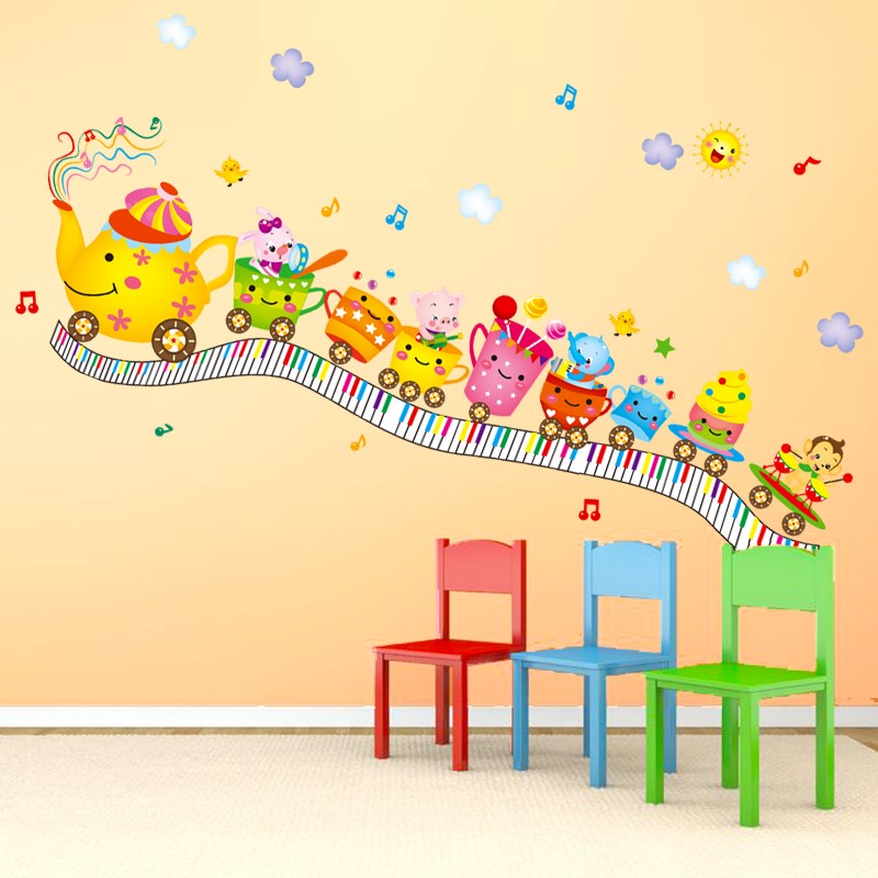 Aliexpress.com : Buy Cute Baby Room Decor Wall Stickers Cartoon Cups Train  Design Sticker Lovely Kids Bedroom Wall Decals DIY Home Decoration WT004  From ... Part 85