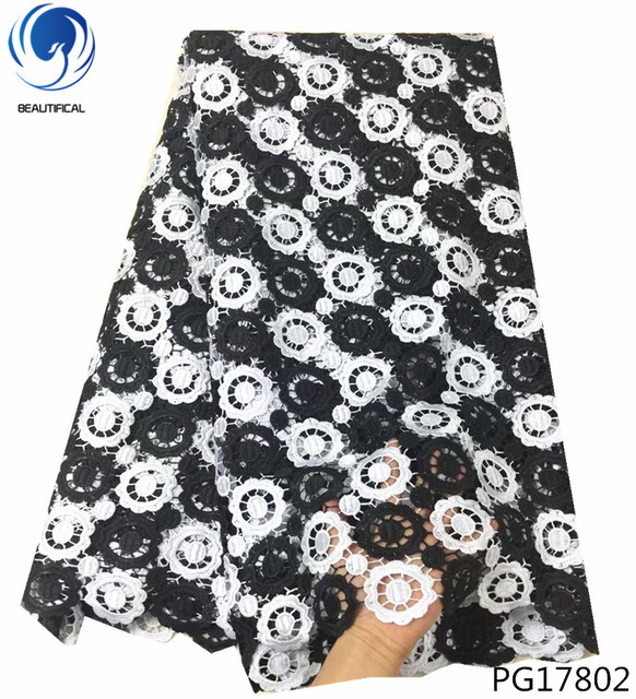 BEAUTIFICAL africa cord lace fabric black and white african lace fabric guipure fabric hot products 5yards for party dress PG178