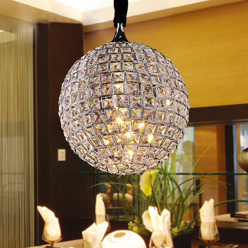 Simple Modern K9 Crystal Pendant Lamp Art Room Restaurant Dining Round Ball Light E14