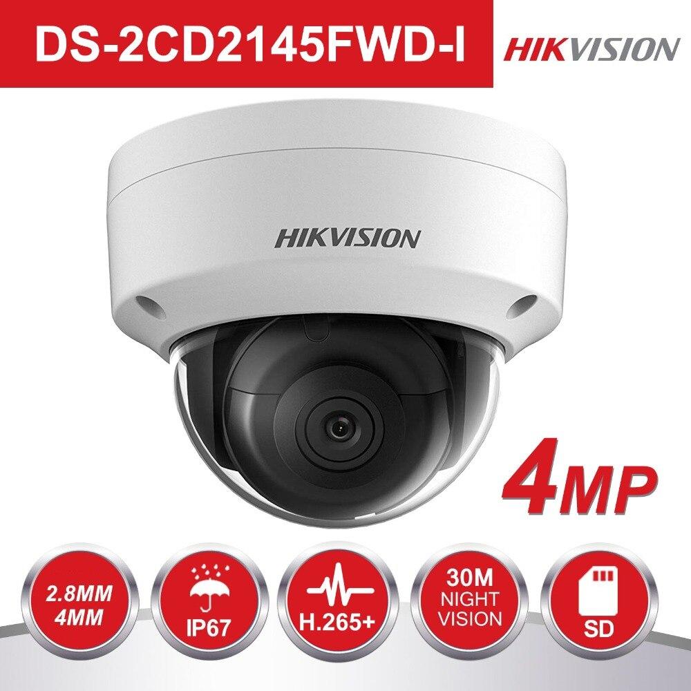 Hikvision Combattant Des TÉNÈBRES PoE IP caméra EXTÉRIEURE DS-2CD2145FWD-I 4MP WDR IR VIDÉO Surveillance CCTV SÉCURITÉ Caméra SD Fente pour carte
