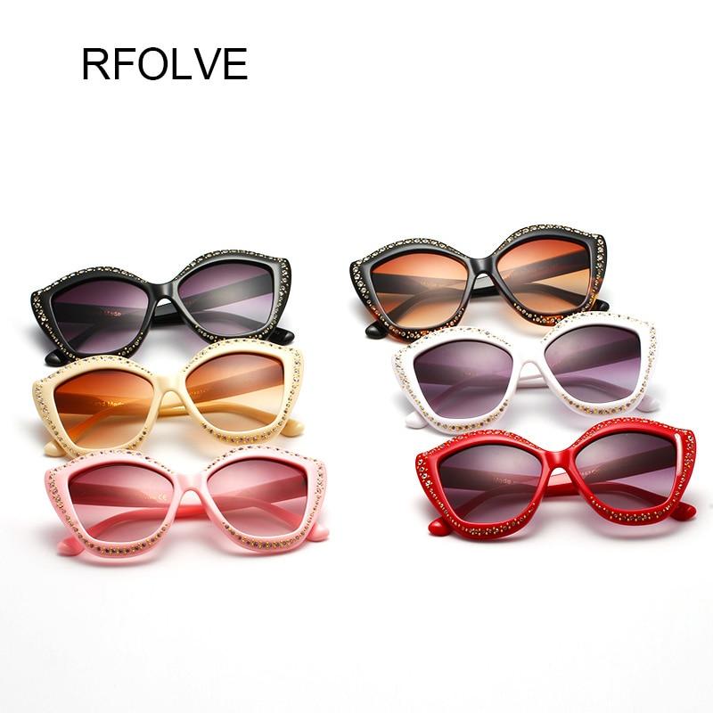 RFOLVE Fashion Design Elegant Rhinestone Cat Eye Women Sunglasses Classic Butterfly Glasses Frame Rivet Design Glasses R8287
