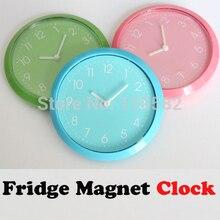 Simple Fridge Magnet Clocks,Cheap Kitchen Wall Clocks, Three Color For Options Round Clocks Fridge Sticker Free Shipping