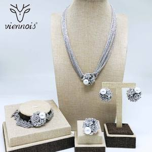 Image 2 - Viennois Simulated Pearl Necklace Set For Women Rose Gold & Silver Zinc Alloy Flower Wedding Paved Bridal Zircon Jewelry 2019
