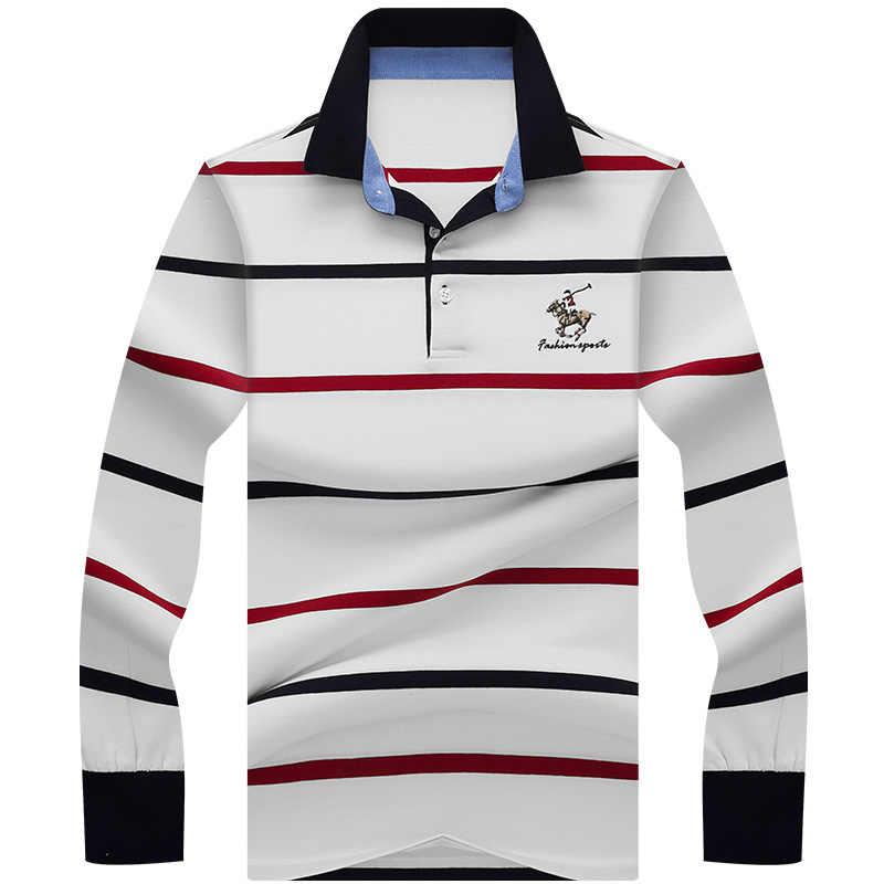 Европейская стильная футболка поло мужская с длинным рукавом Классическая полосатая умная Повседневная брендовая футболка Tace & Shark camisa polo homme 3D вышивка