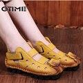 Gtime 2017 primavera verão new soft fundo plano sapatos de couro personalidade casuais sandálias das mulheres do vintage feitos à mão sandálias # zws31