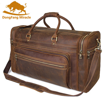 High-capacity vintage genuine leather travel bag  handbags shoulder bag Men's Duffle Travel Bags high capacity travel totes