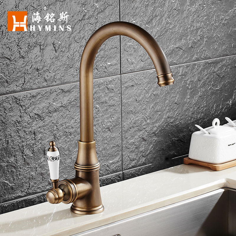 ITAS9921 Can be customized single handle head hole cold and hot water kitchen faucet can be rotated brass chrome desk carving