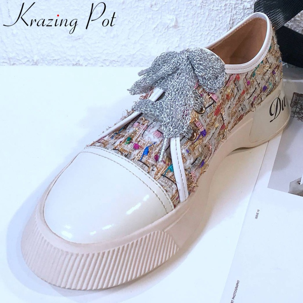 Krazing Pot young girls lace up mixed colors thick bottom sneakers gorgeous lace up breathable round