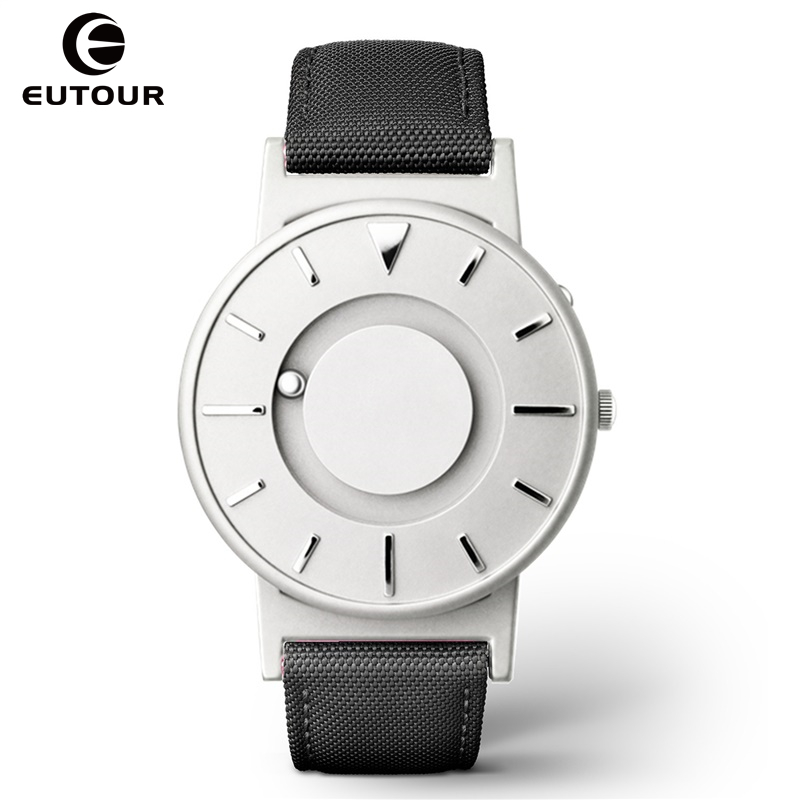 EUTOUR New Style Men Watches Magnetic Ball Show Fashion Wrist Watch Women Nylon Stainless Steel Couple Quartz Wristwatches 2018 new fashion full stainless steel silver web band dress quartz wrist watch wristwatches for men women lovers couple