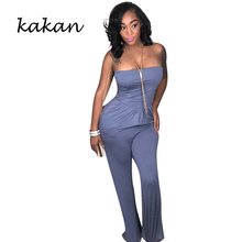 Kakan new ladies sexy jumpsuit fashion strapless sexy nightclub jumpsuit female tube top long jumpsuit