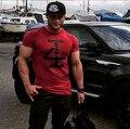 Nueva Marca Muscular Ajustado de Manga Corta Camiseta de Los Hombres de Culturismo y Fitness Camiseta Tops camiseta de Algodón Ropa Deportiva