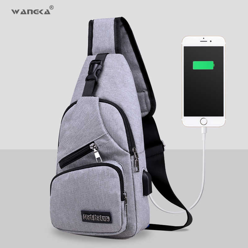 3c673aeccaf483 ... WANGKA Sling Shoulder USB Charge Chest Bag for Men Casual Multifunction  Waterproof Crossbody Bag Women Short ...