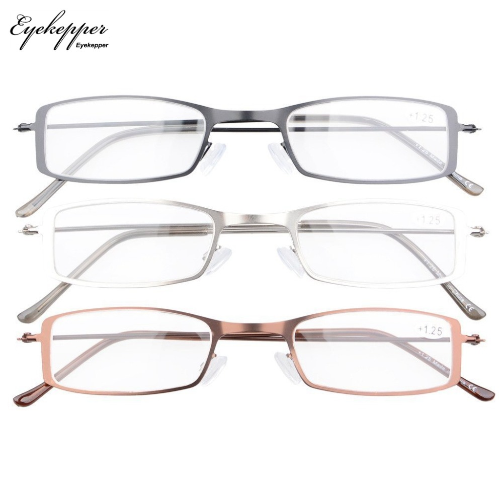 1e49af939aa Aliexpress.com   Buy R15005 Eyekepper 3 Pack Stainless Steel Frame Half eye  Style Reading Glasses Readers +0.50~+4.0 from Reliable Reading Glasses  suppliers ...