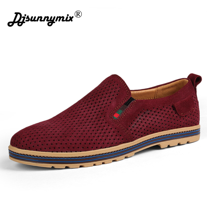 DJSUNNYMIX Brand Big Size Cow Suede Leather Men Flats 2018 New Men Casual Shoes High Quality Men Loafers Moccasin Driving Shoes new handmade spring summer soft dough leather flats quality leather men loafers men moccasin casual shoes driving shoes