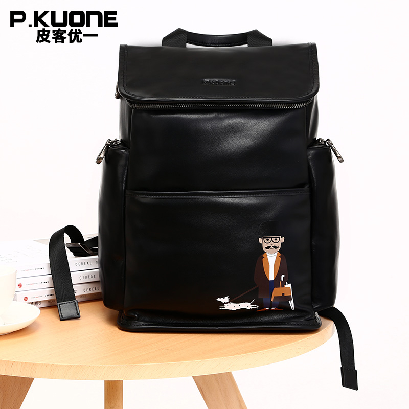 P.KUONE Brand Luxury Black Genuine Leather Backpack Men Soft Waterproof Back Pack Shoulder School Bag Male Travel Rucksack famous brand luxury men backpack genuine leather vintage mochila black men sport double shoulder bag men s backpacks bp00042