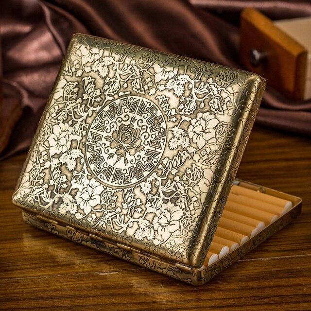 Fugui Peony Flower 20 Embossed Copper Cigarette Box Mens Ultra thin Creative Individual Retro Cigarette Clip
