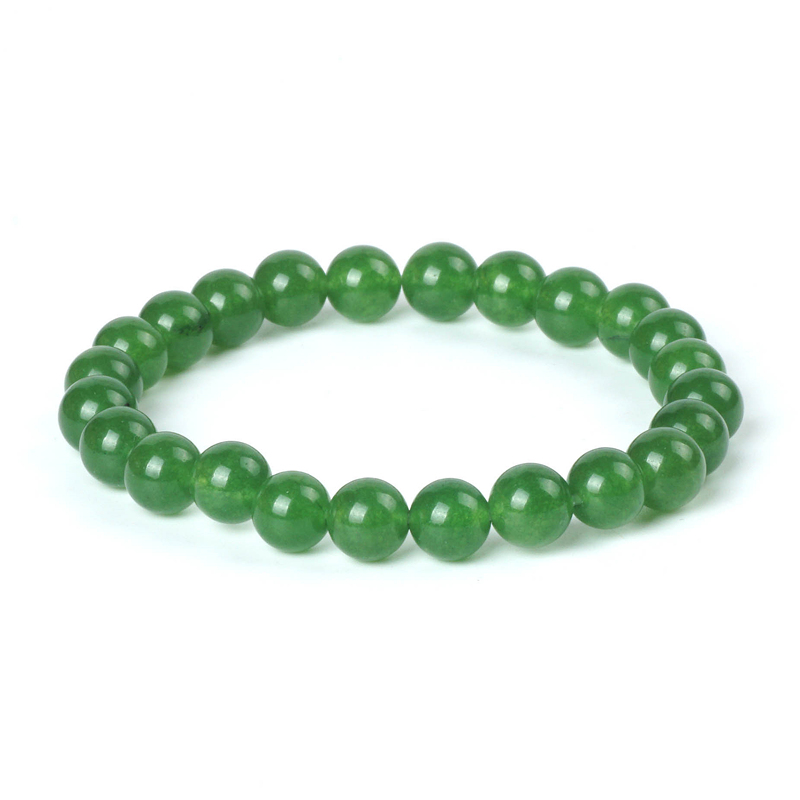 "8//10mm naturel multicolore Jade Gemstone Round Bracelet 7.5/"" AAA"