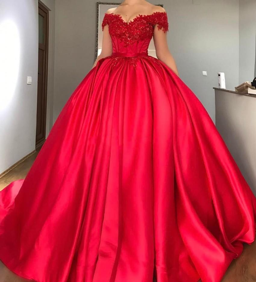 Robe de bal rouge Quinceanera robes de soirée Satin Corset à lacets robes de bal doux seize robes