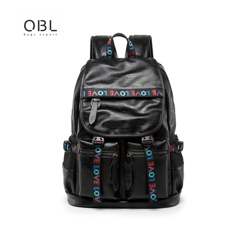 QiBoLu Black Male Leather Backpack High Quality Men Bagpack With Extrnal USB Port Mens Casual Travel Soft Laptop Backpacks