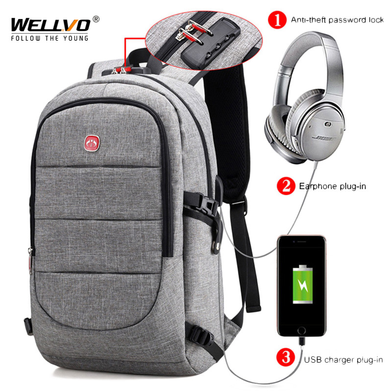 External Usb Charge Backpack Men Anti Theft Lock Laptop Bag Large School Bags Male Travel Backpacks With Headphone Plug Xa2199c