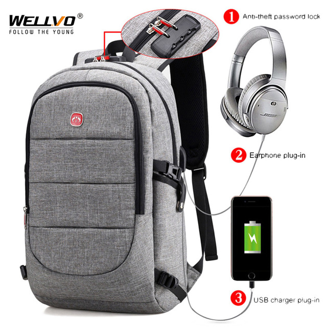 9db30390cd External USB Charge Backpack Men Anti Theft Lock Laptop Bag Large School  Bags Male Travel Backpacks With Headphone Plug XA2199C