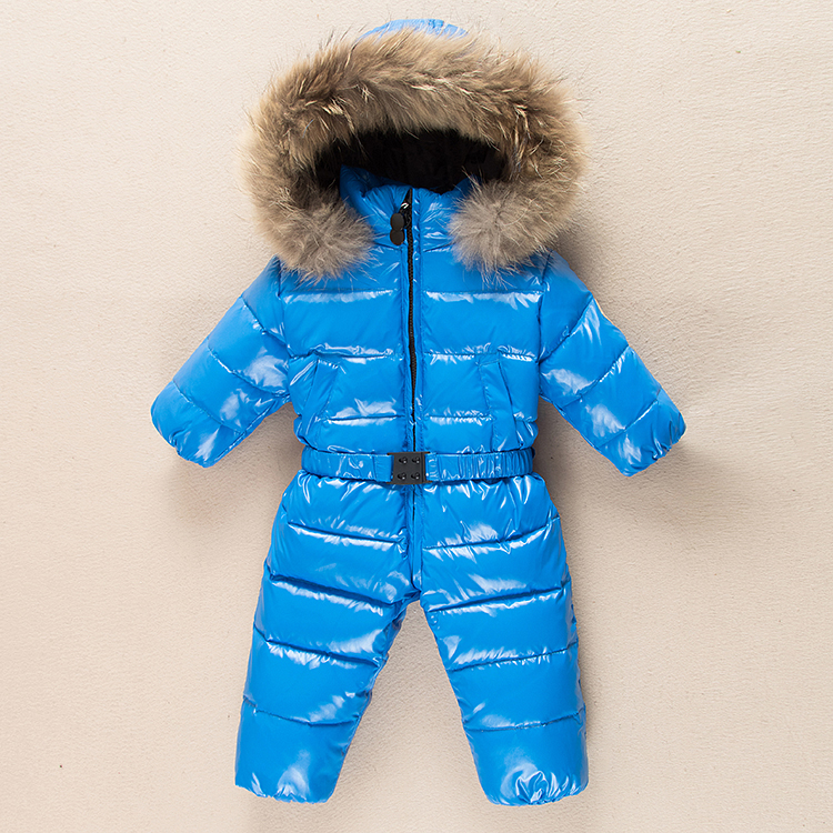 Baby Jumpsuits Toddler Boys Girls Winter Down Coat Baby Rompers Duck Down Genuine Fur Hat Children Outerwear Kids Snowsuit