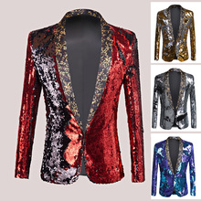 European and American performance dress men's personality sequined suit jacket stage Catwalk fashion show clothing  mens blazer недорого