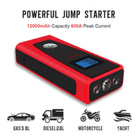 PUSHIDUN Car Jump Starter 12000mAh with Air Comperssor&Smart clip Cable 600A Peak Current Power Bank Car Charger for Car