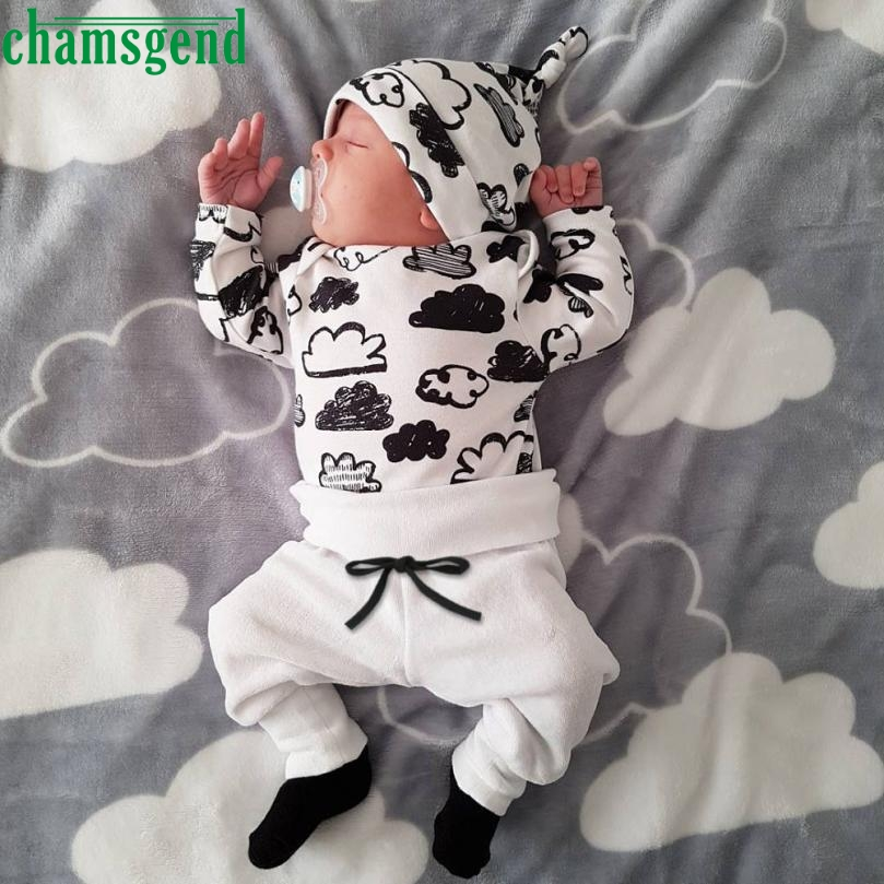 CHAMSGEND White Newborn Infant Baby Girl Boy Cloud coat Full Print T Shirt Tops+Pants hat three Outfits Clothes Set jul26 P30x print t shirt pants