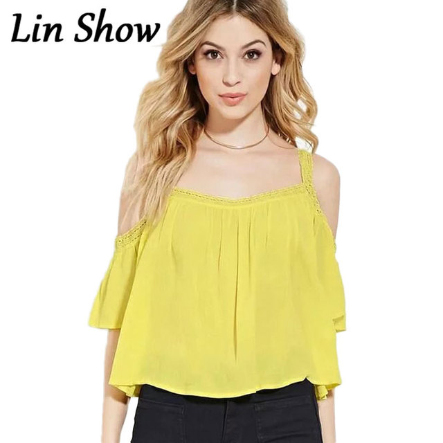d4fc13489c3 Crochet Loose Off Shoulder Solid Women Blouses Summer Cute Yellow Beach  Female Vestidos Backless Sexy Casual Camis Shirts TL7909